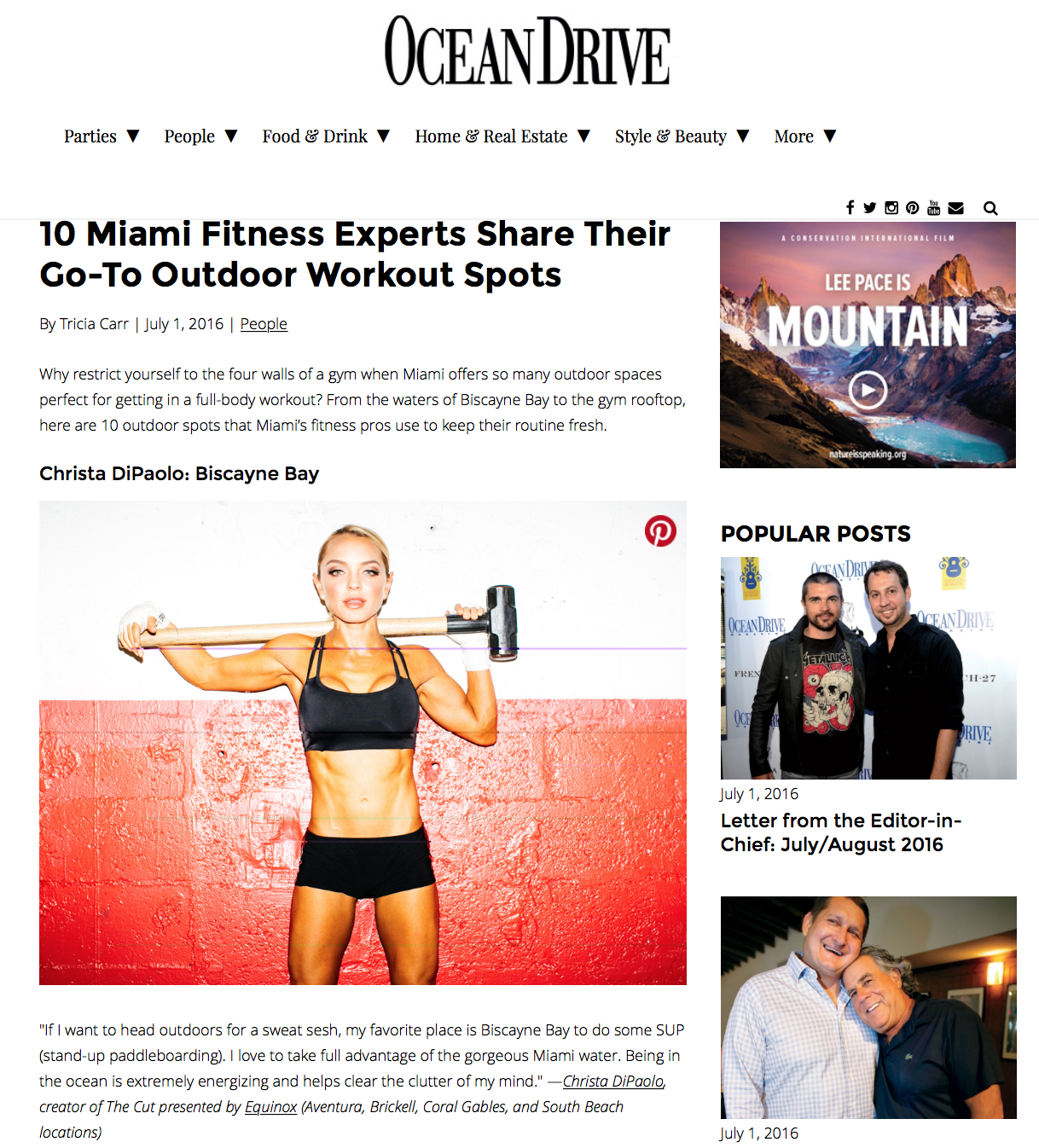 OceanDrive.Com – 10 Miami Fitness Experts Share Their Go-To Outdoor Workout Spots